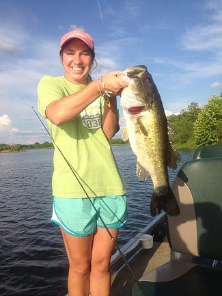 Susan Moore with big Club lake bass.  Susan is a Judson College student in Manager Wilson's bass fishing class (May2012)
